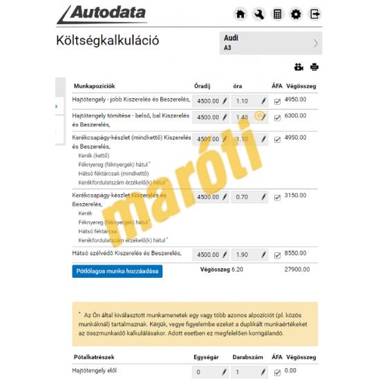 Autodata S&M (Szerviz és Karbantartás) - Demo