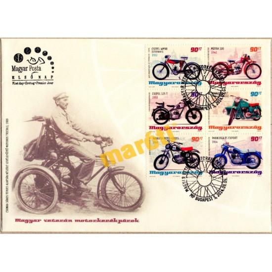 Magyar veterán motorkerékpárok bélyeg + boríték kerettel