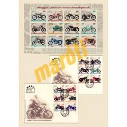 Magyar veterán motorkerékpárok bélyegkisív + emlékboríték