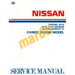 Nissan Model B12 and N13 Serfies Supplement-III. CA16DE (javítási kézikönyv)