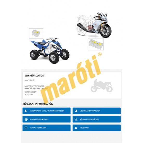 Autodata Motorkerékpár Online adatbázis - Demo